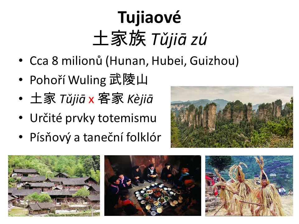 Tujiaové 土家族 Tǔjiā zú Cca 8 milionů (Hunan, Hubei, Guizhou)