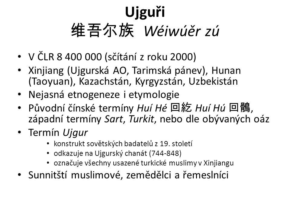 Ujguři 维吾尔族 Wéiwúěr zú V ČLR 8 400 000 (sčítání z roku 2000)