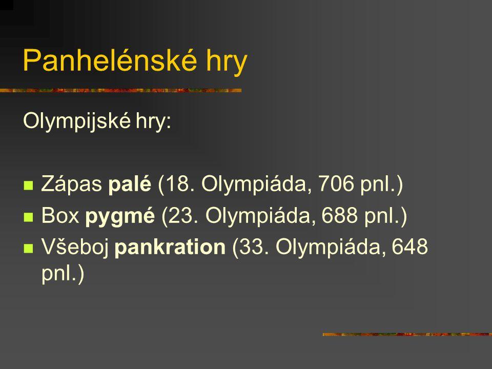 Panhelénské hry Olympijské hry: Zápas palé (18. Olympiáda, 706 pnl.)