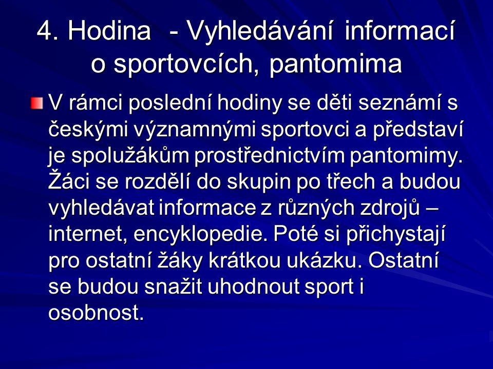 4. Hodina - Vyhledávání informací o sportovcích, pantomima