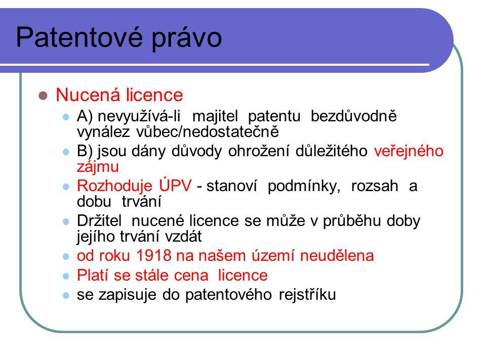 Patentové právo Nucená licence