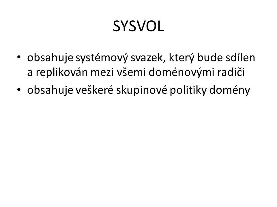 SYSVOL obsahuje systémový svazek, který bude sdílen a replikován mezi všemi doménovými radiči.