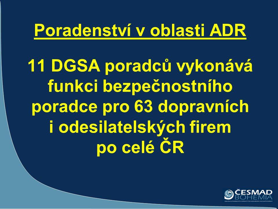 Poradenství v oblasti ADR 11 DGSA poradců vykonává funkci bezpečnostního poradce pro 63 dopravních i odesilatelských firem po celé ČR