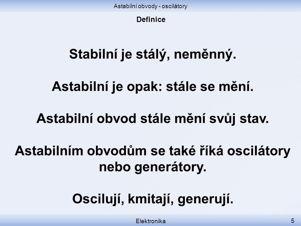 Stabilní je stálý, neměnný. Astabilní je opak: stále se mění.