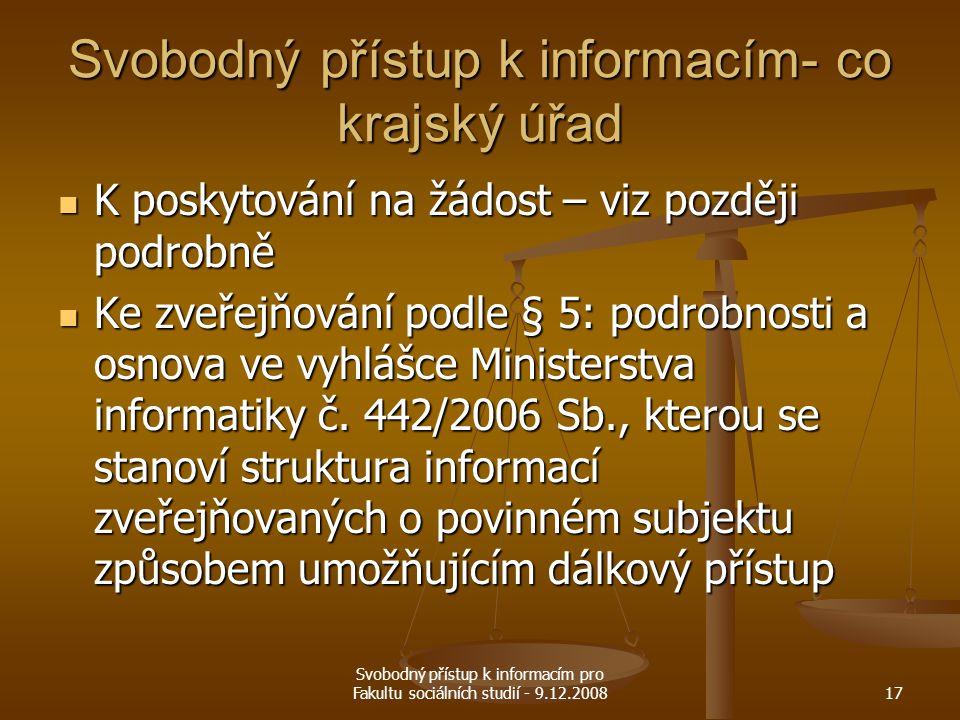 Svobodný přístup k informacím- co krajský úřad