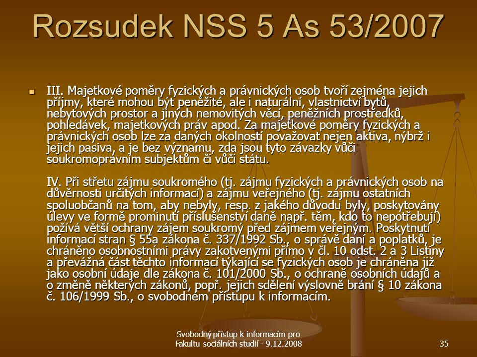 Rozsudek NSS 5 As 53/2007