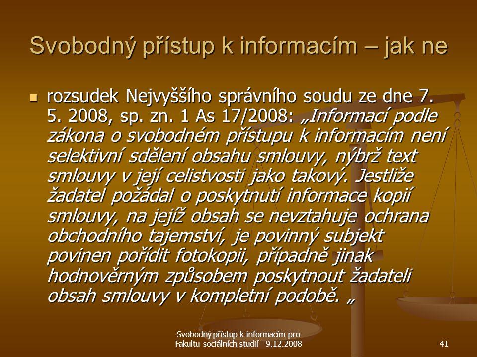Svobodný přístup k informacím – jak ne