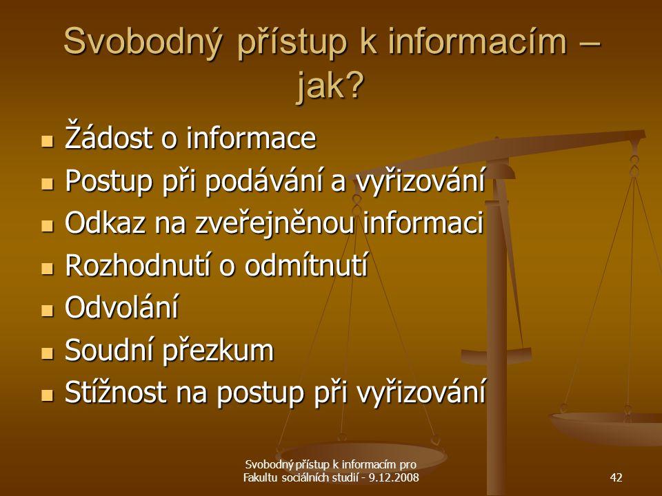 Svobodný přístup k informacím – jak