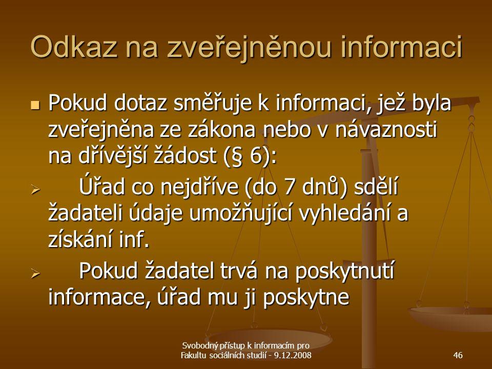 Odkaz na zveřejněnou informaci