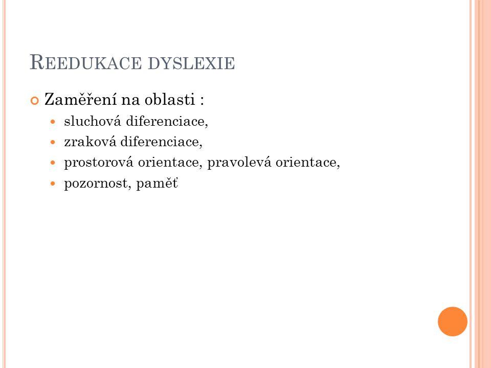 Reedukace dyslexie Zaměření na oblasti : sluchová diferenciace,