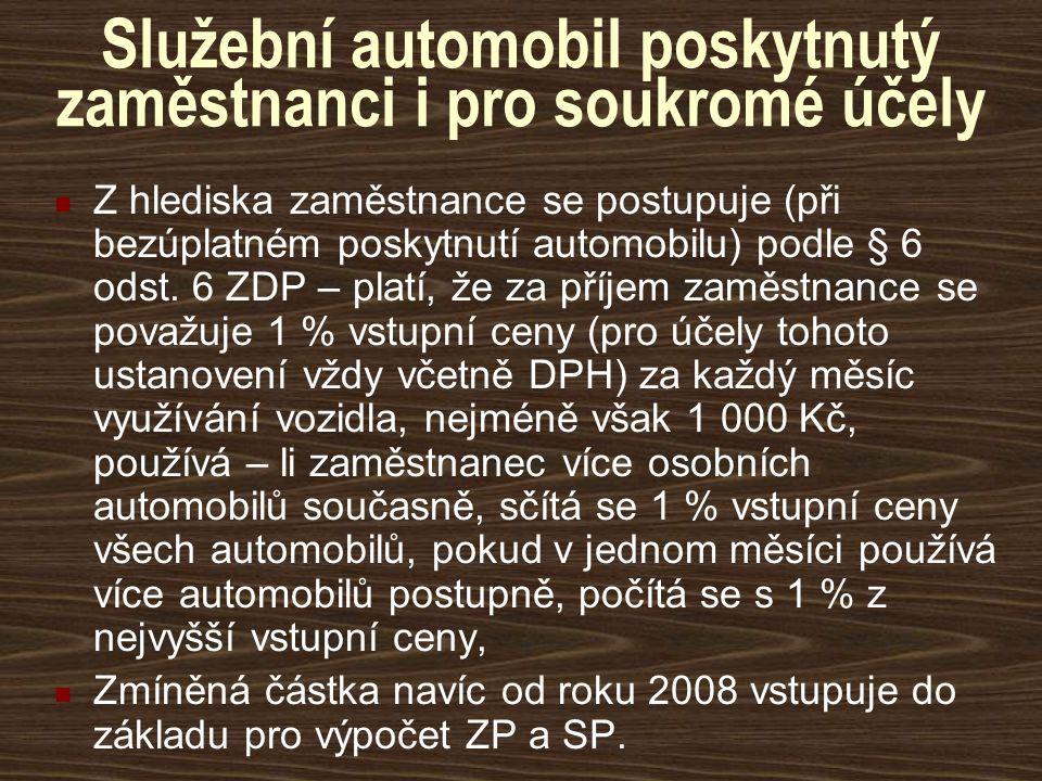 Služební automobil poskytnutý zaměstnanci i pro soukromé účely