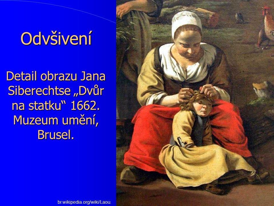 """Odvšivení Detail obrazu Jana Siberechtse """"Dvůr na statku 1662"""