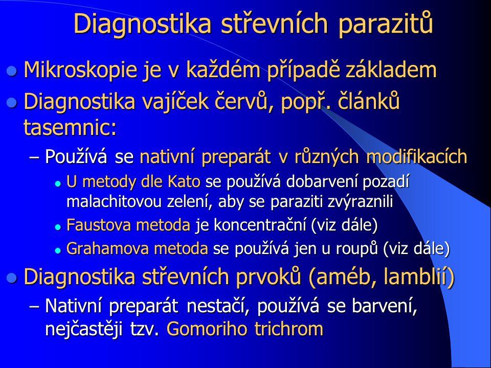 Diagnostika střevních parazitů