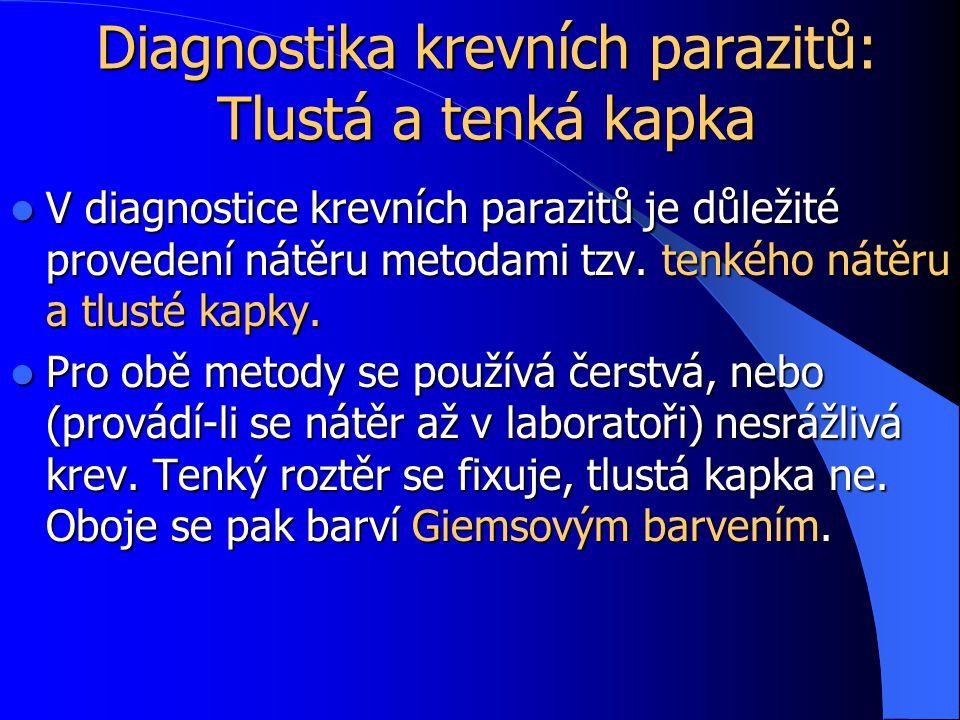 Diagnostika krevních parazitů: Tlustá a tenká kapka