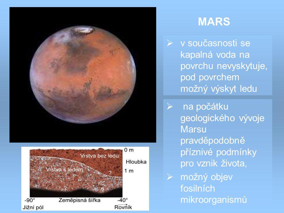 MARS v současnosti se kapalná voda na povrchu nevyskytuje, pod povrchem možný výskyt ledu.