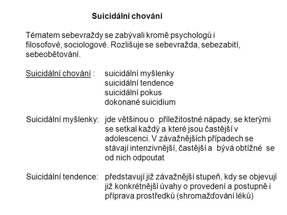 Suicidální chování Tématem sebevraždy se zabývali kromě psychologů i filosofové, sociologové. Rozlišuje se sebevražda, sebezabití, sebeobětování.