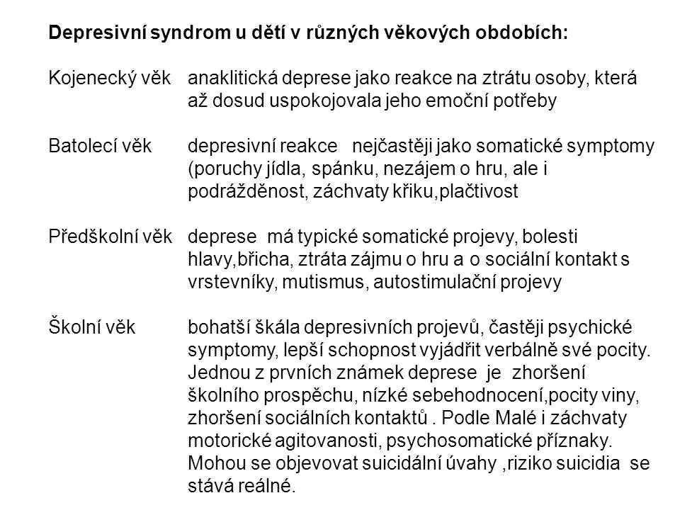 Depresivní syndrom u dětí v různých věkových obdobích: