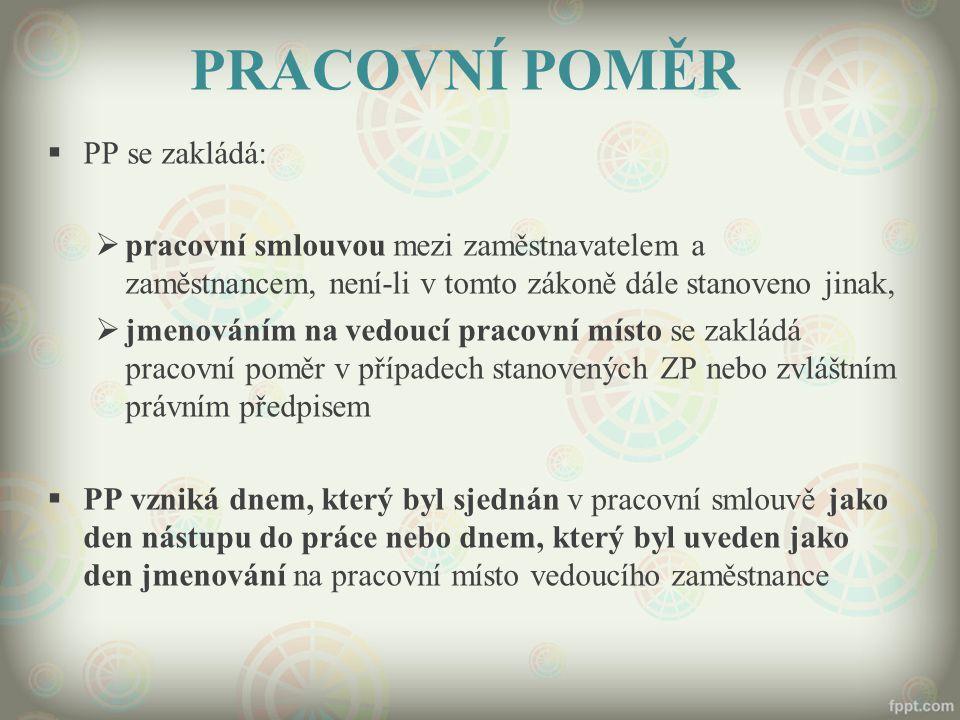 PRACOVNÍ POMĚR PP se zakládá: