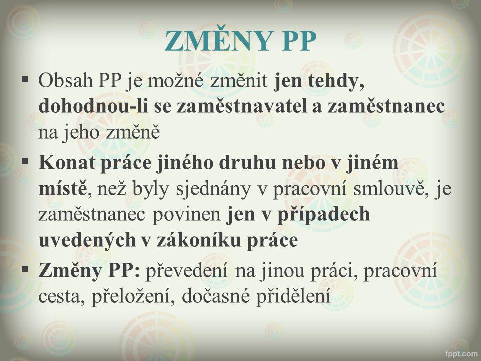 ZMĚNY PP Obsah PP je možné změnit jen tehdy, dohodnou-li se zaměstnavatel a zaměstnanec na jeho změně.