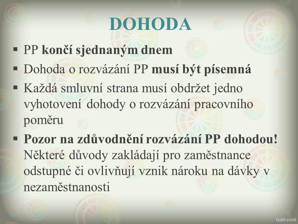 DOHODA PP končí sjednaným dnem Dohoda o rozvázání PP musí být písemná