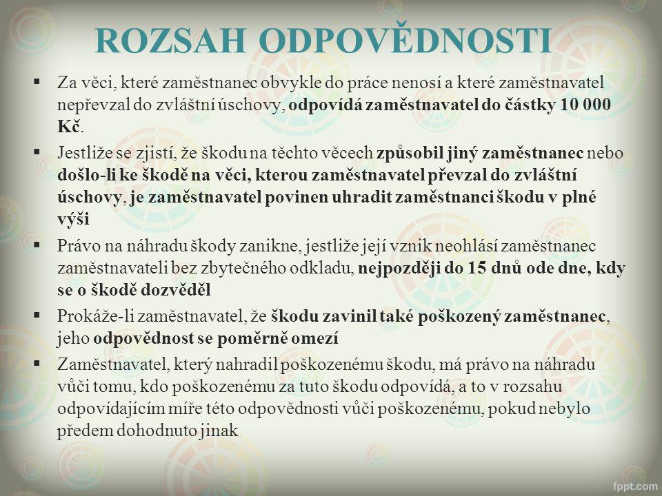 ROZSAH ODPOVĚDNOSTI