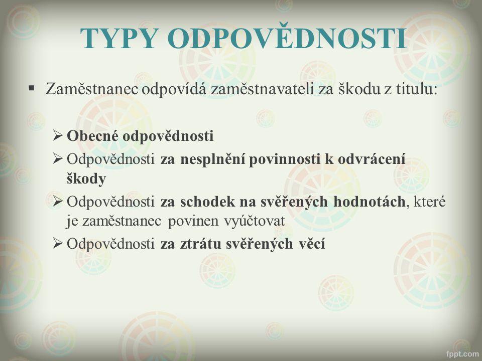 TYPY ODPOVĚDNOSTI Zaměstnanec odpovídá zaměstnavateli za škodu z titulu: Obecné odpovědnosti.