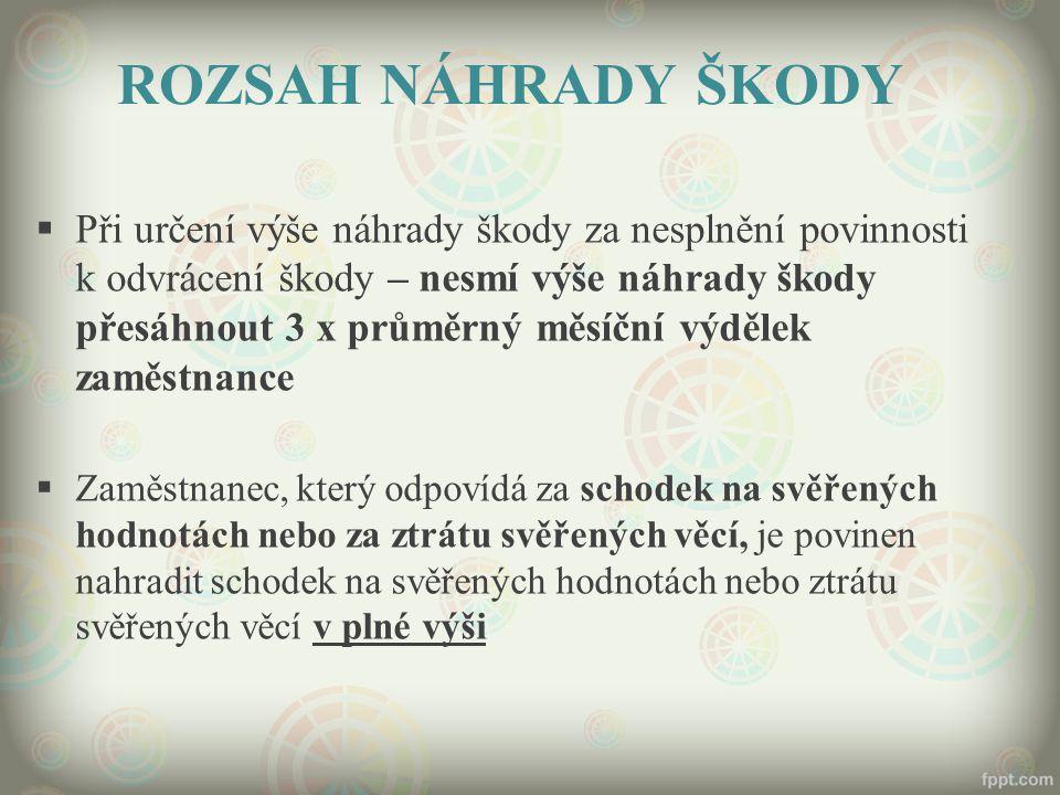 ROZSAH NÁHRADY ŠKODY