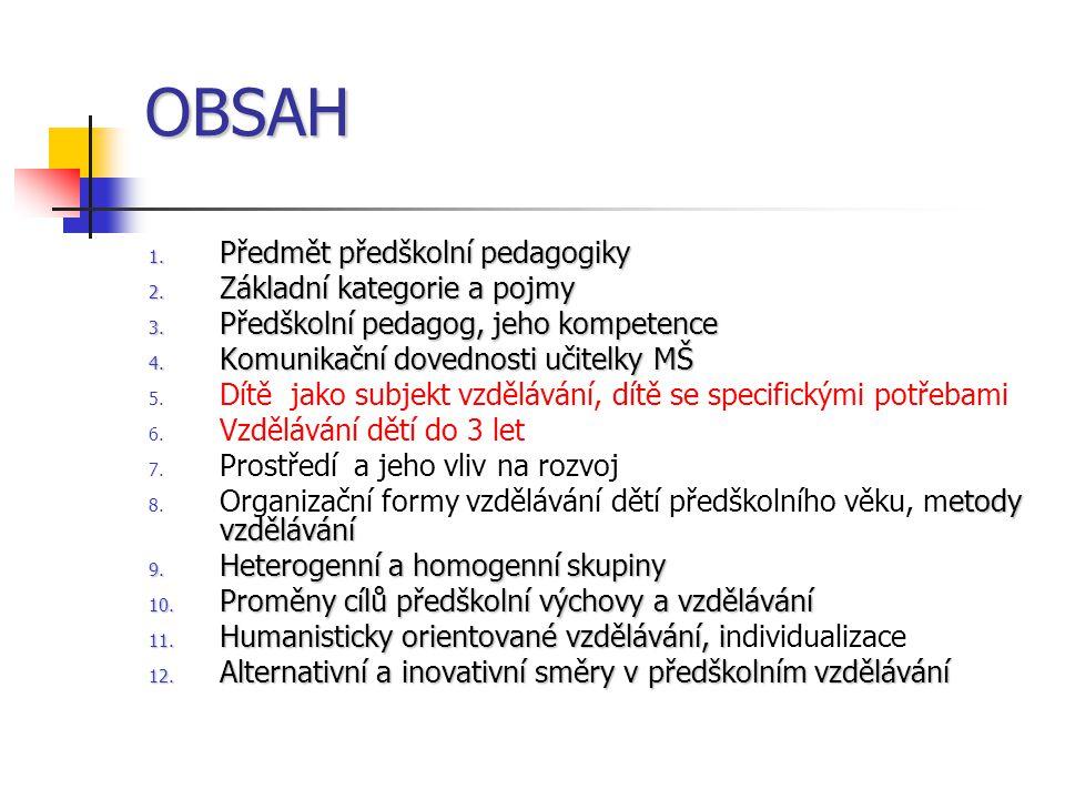 OBSAH Předmět předškolní pedagogiky Základní kategorie a pojmy