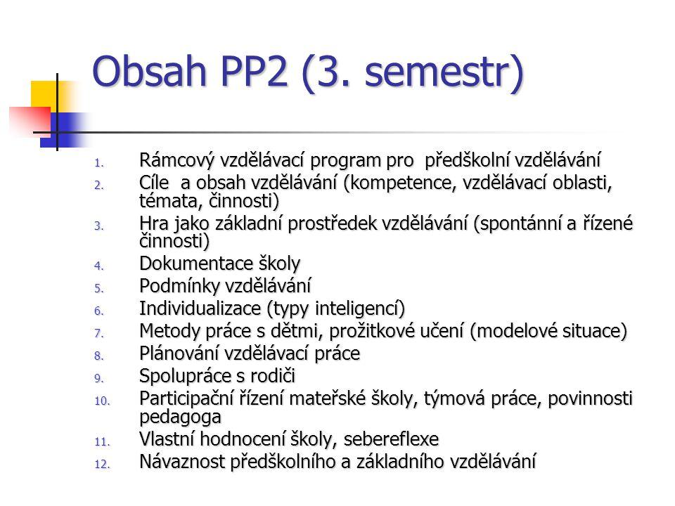 Obsah PP2 (3. semestr) Rámcový vzdělávací program pro předškolní vzdělávání.