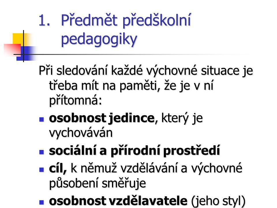 Předmět předškolní pedagogiky