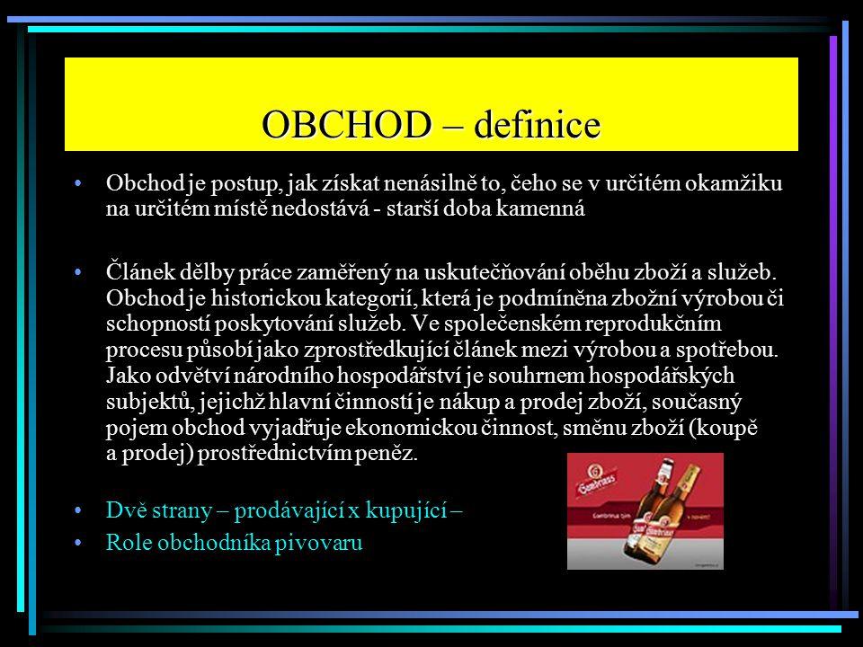 OBCHOD – definice Obchod je postup, jak získat nenásilně to, čeho se v určitém okamžiku na určitém místě nedostává - starší doba kamenná.