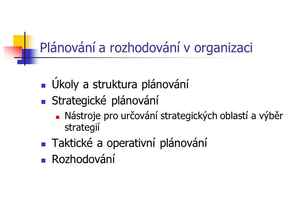 Plánování a rozhodování v organizaci