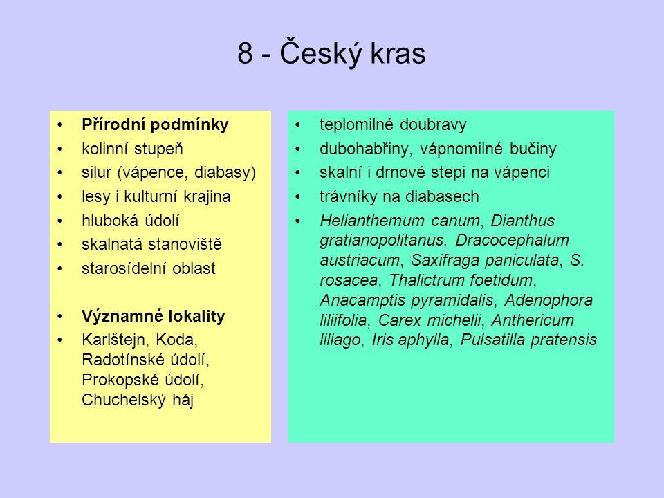 8 - Český kras Přírodní podmínky kolinní stupeň