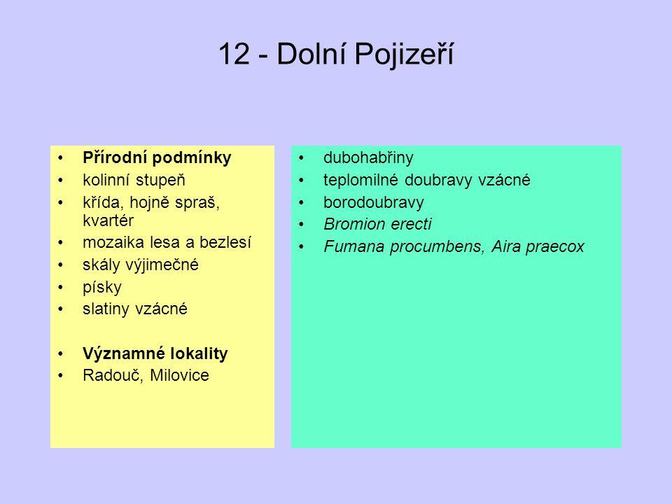 12 - Dolní Pojizeří Přírodní podmínky kolinní stupeň