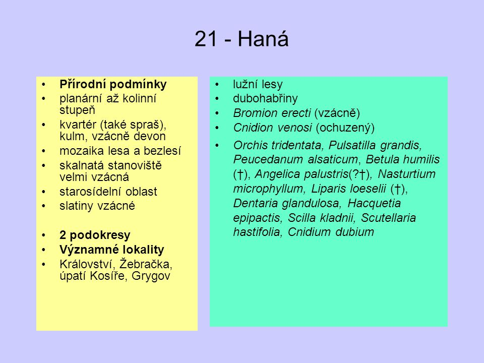 21 - Haná Přírodní podmínky planární až kolinní stupeň