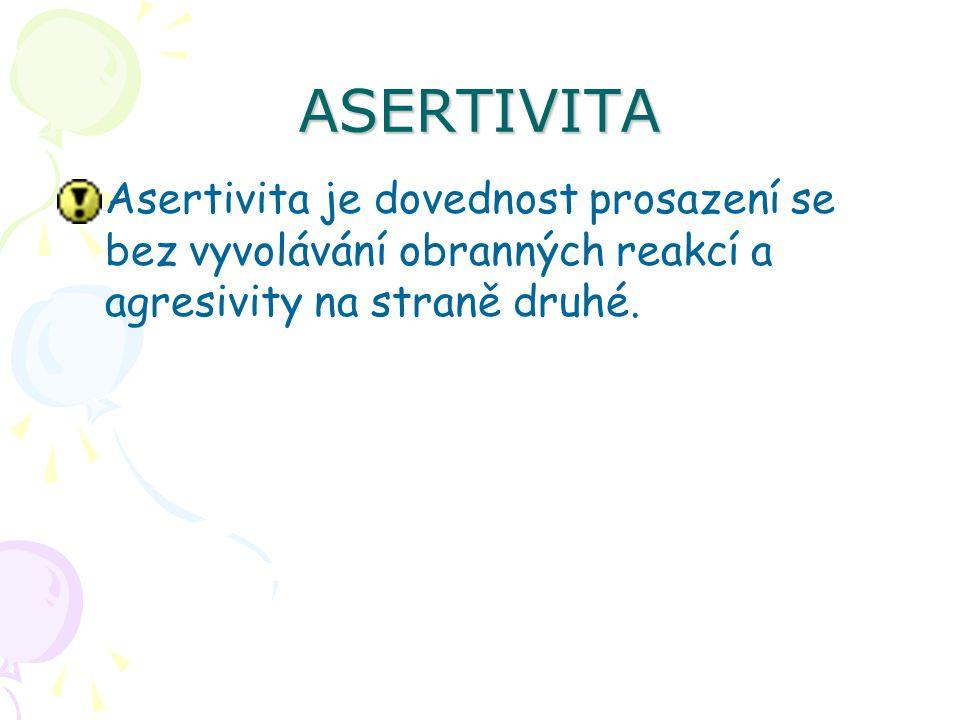 ASERTIVITA Asertivita je dovednost prosazení se bez vyvolávání obranných reakcí a agresivity na straně druhé.