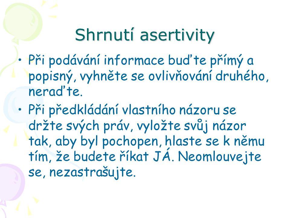 Shrnutí asertivity Při podávání informace buďte přímý a popisný, vyhněte se ovlivňování druhého, neraďte.