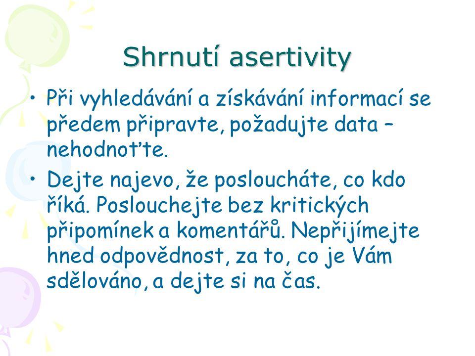 Shrnutí asertivity Při vyhledávání a získávání informací se předem připravte, požadujte data – nehodnoťte.
