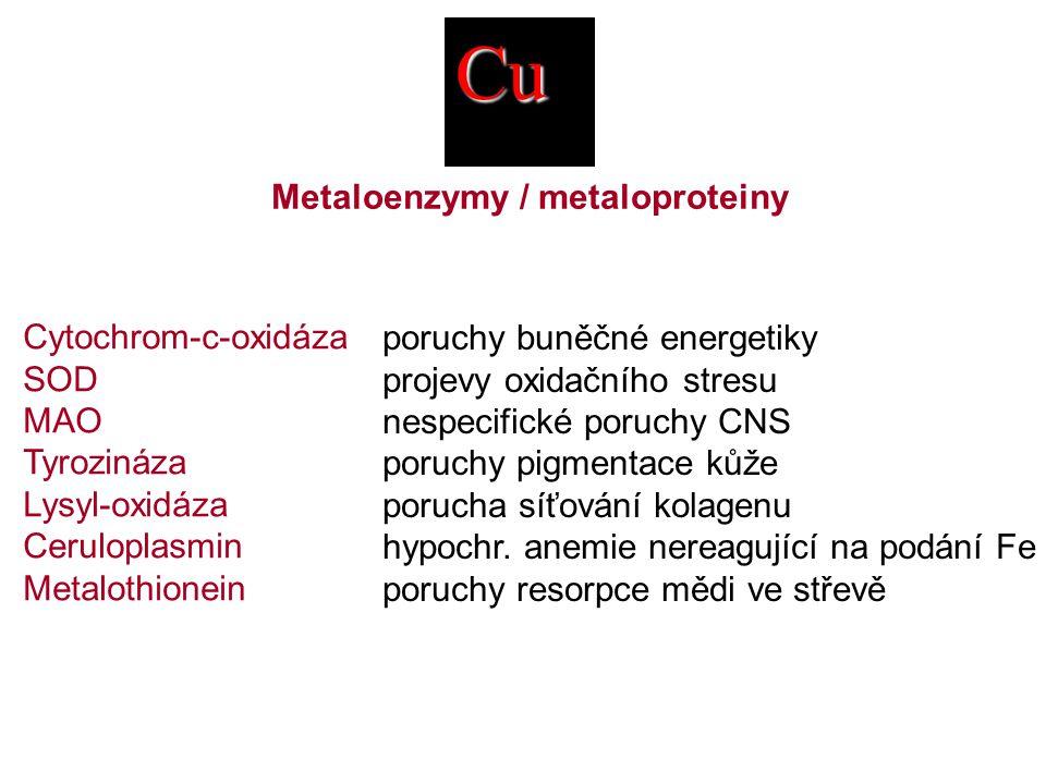 Cu Metaloenzymy / metaloproteiny Cytochrom-c-oxidáza