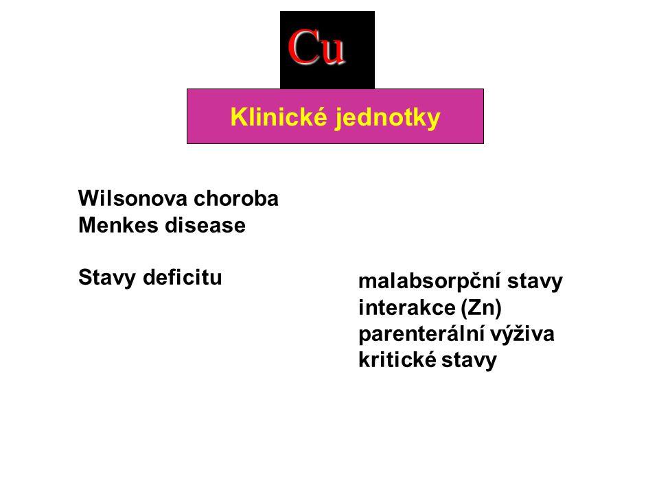 Cu Klinické jednotky Wilsonova choroba Menkes disease Stavy deficitu