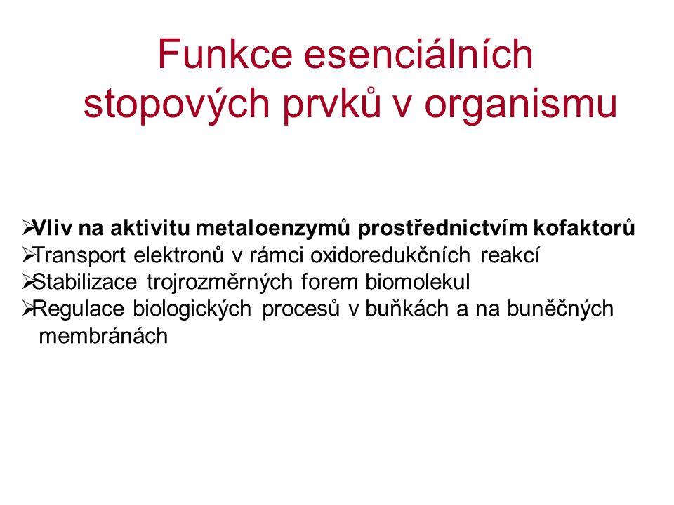 stopových prvků v organismu