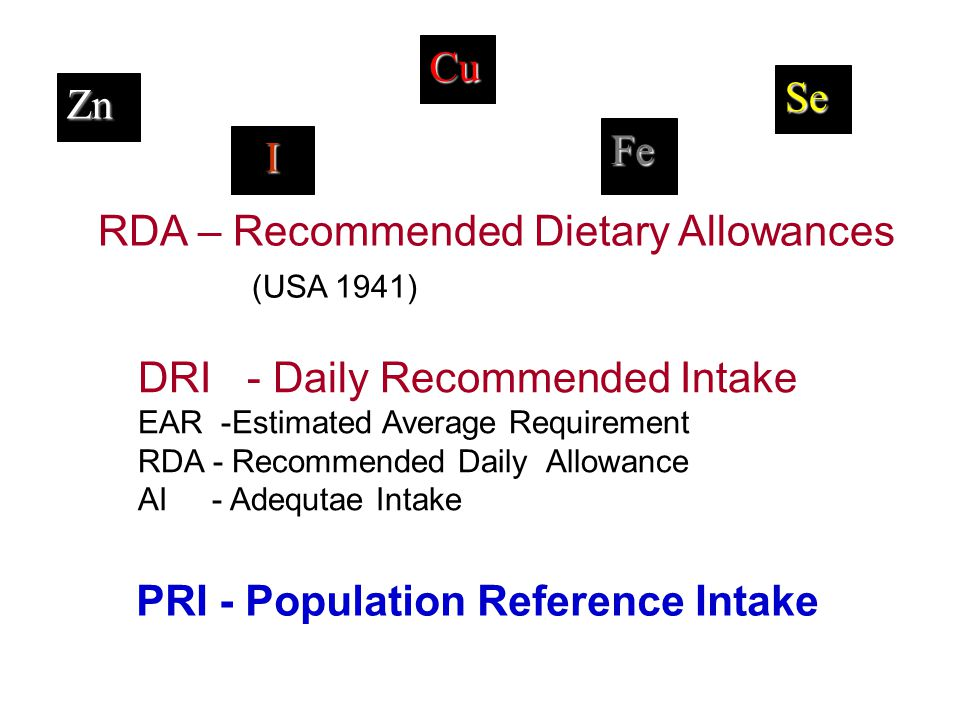 RDA – Recommended Dietary Allowances (USA 1941)