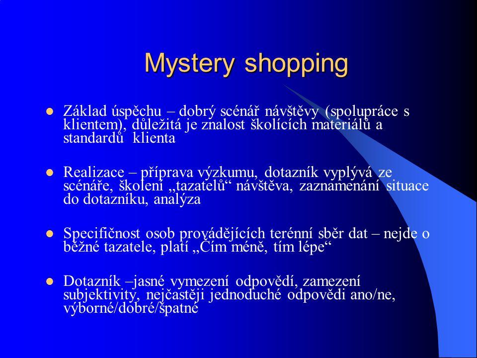 Mystery shopping Základ úspěchu – dobrý scénář návštěvy (spolupráce s klientem), důležitá je znalost školících materiálů a standardů klienta.