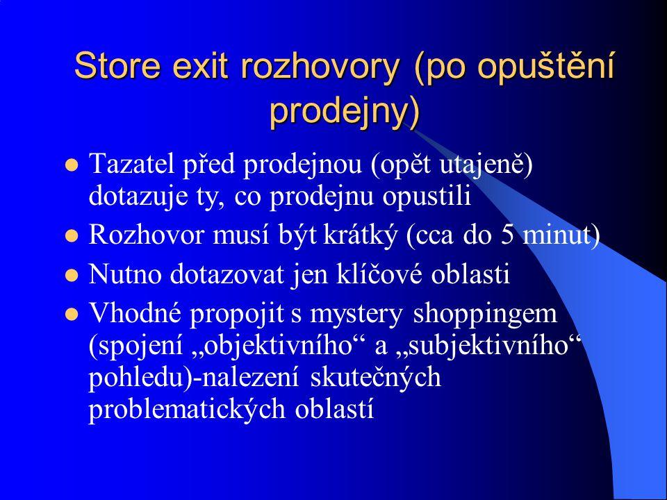 Store exit rozhovory (po opuštění prodejny)