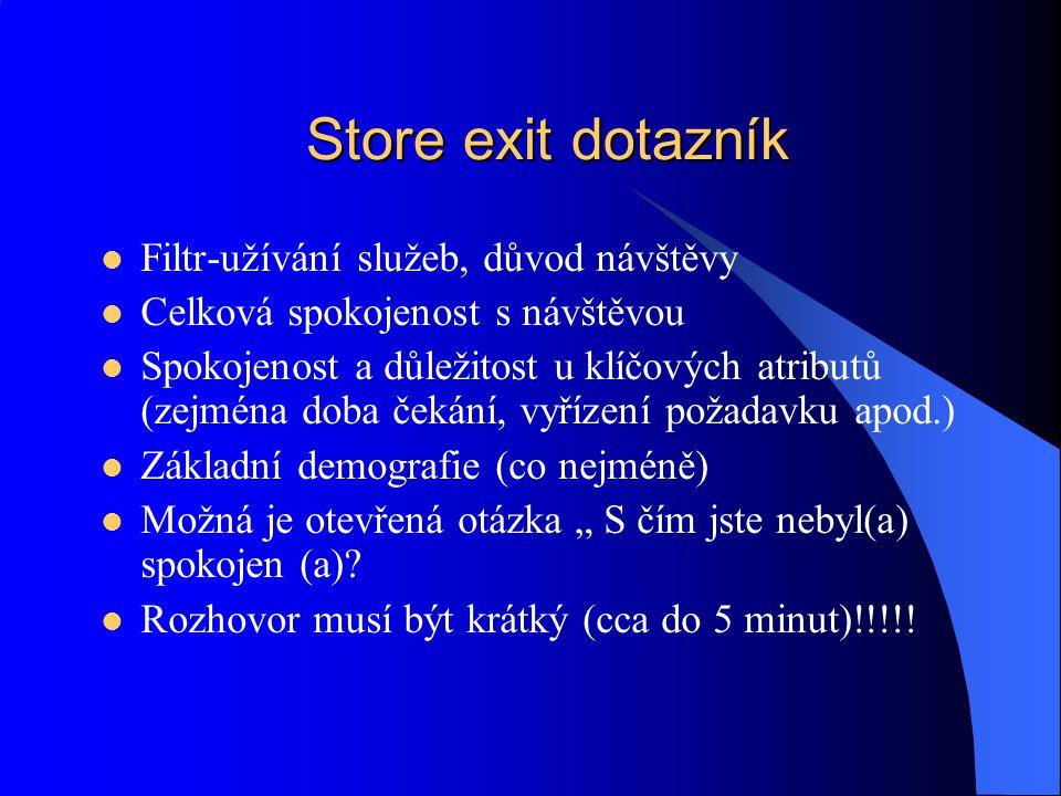 Store exit dotazník Filtr-užívání služeb, důvod návštěvy