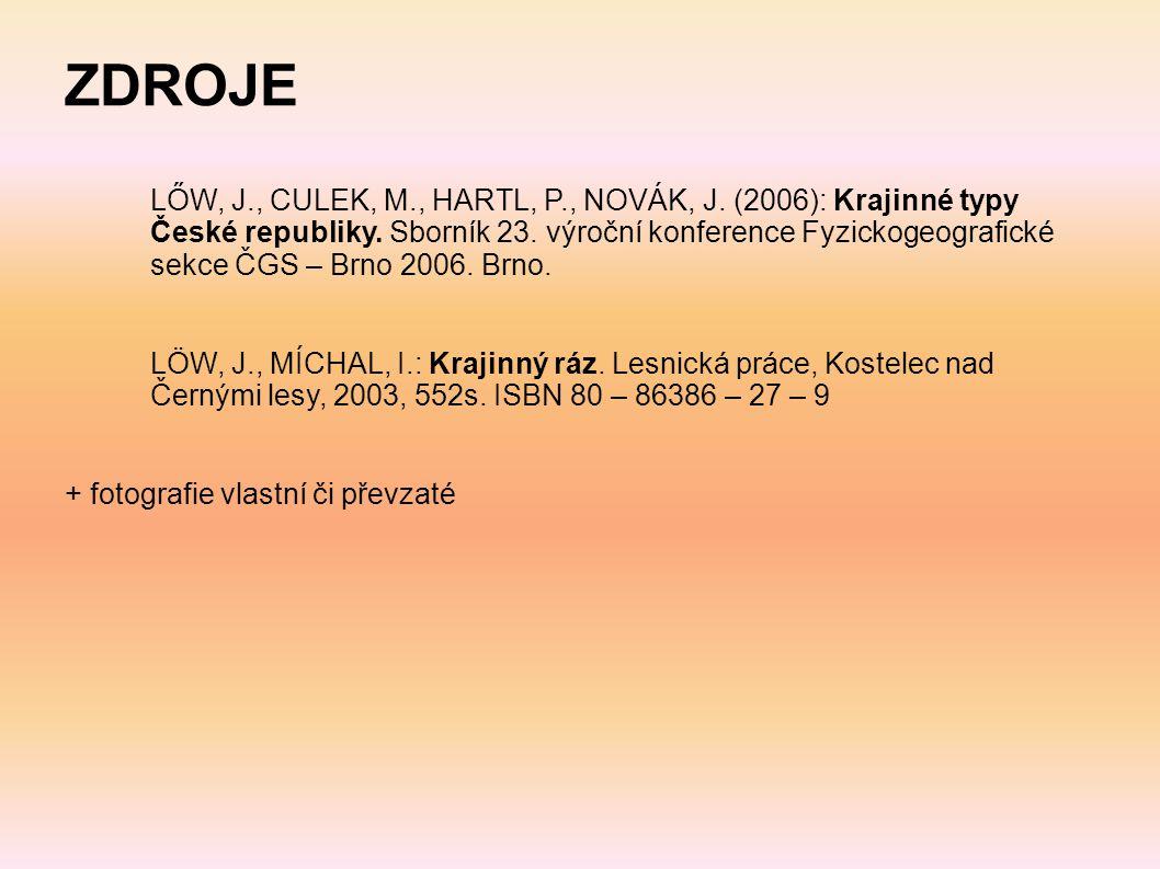 ZDROJE LŐW, J. , CULEK, M. , HARTL, P. , NOVÁK, J