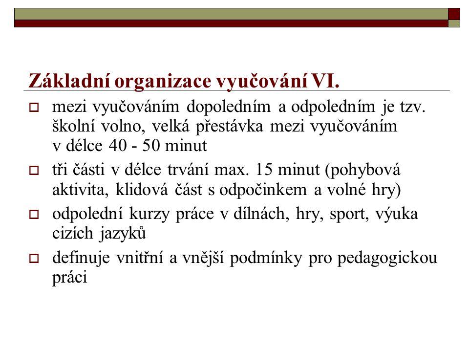Základní organizace vyučování VI.