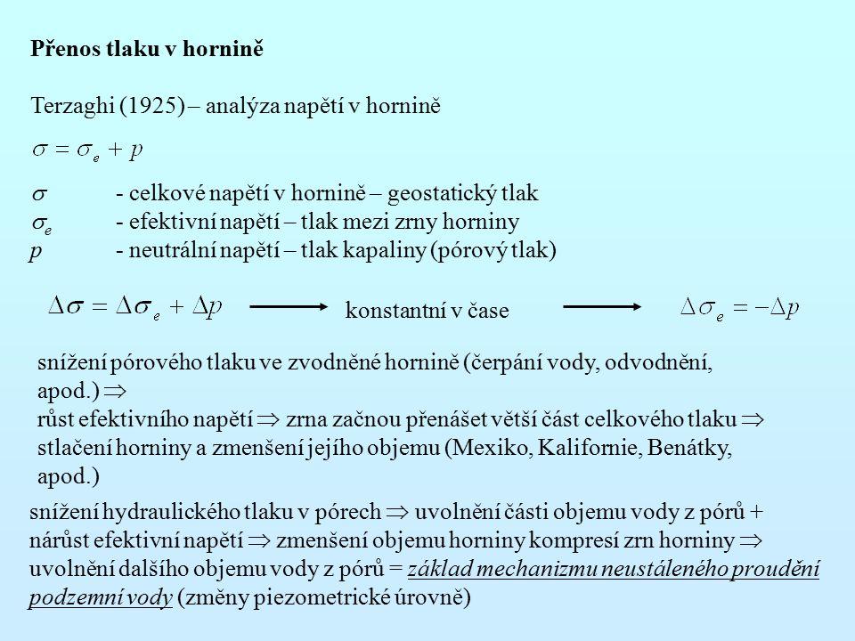 Přenos tlaku v hornině Terzaghi (1925) – analýza napětí v hornině.  - celkové napětí v hornině – geostatický tlak.
