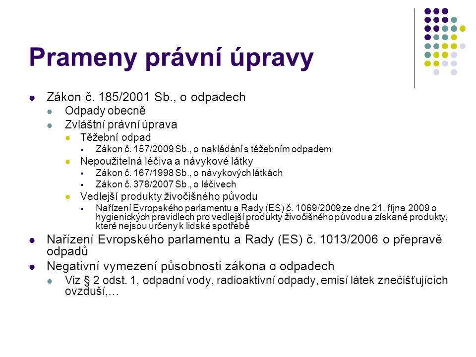 Prameny právní úpravy Zákon č. 185/2001 Sb., o odpadech