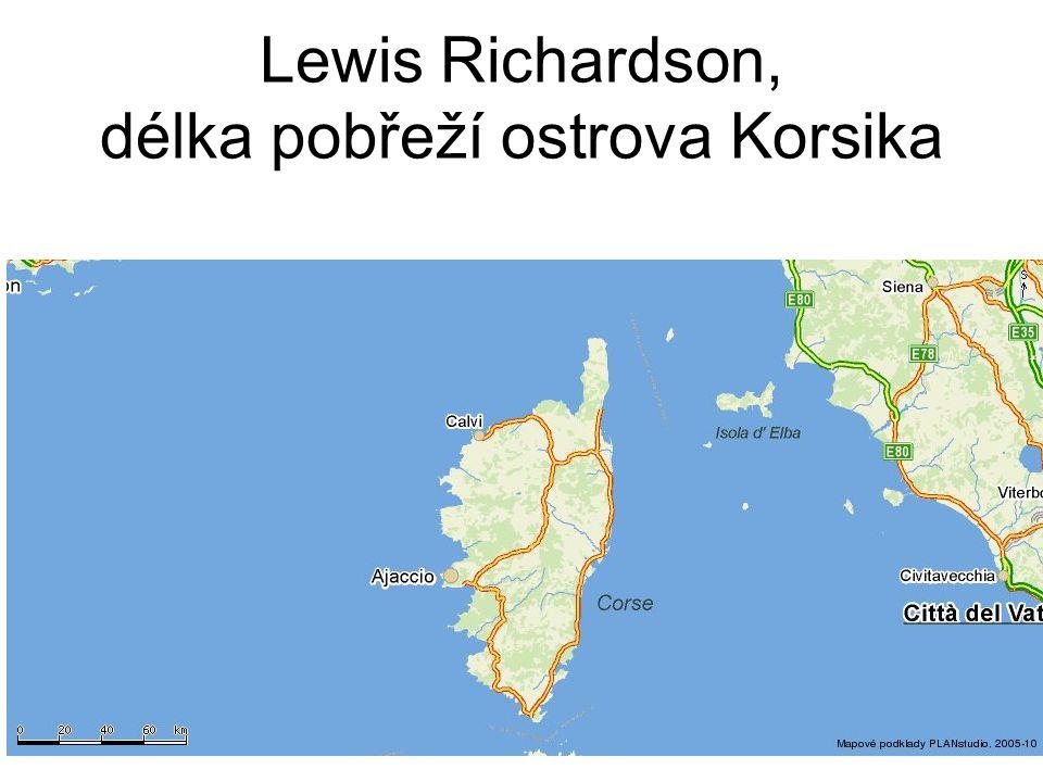 Lewis Richardson, délka pobřeží ostrova Korsika